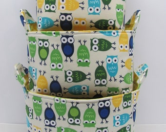 NEW Fabric Organizer Basket Storage Container Bin - Set of 3 - Urban Zoologie Owls