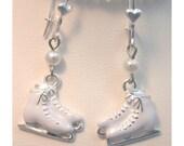 Ice Skate Earrings, Pearls, Silver, Dangle, Girls, Teens,Christmas Gift