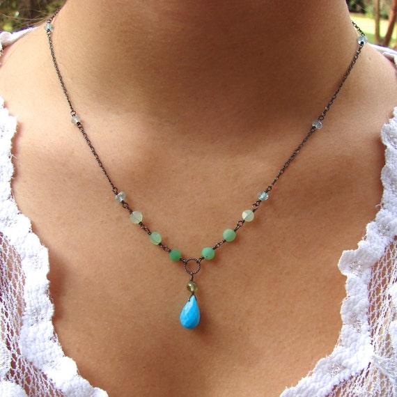Turquoise Briolette Necklace with Ombre Chrysoprase