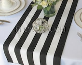 White and Black Stripe Table Runner Wedding Table Runner with black stripes on the borders - READY TO SHIP!