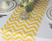 Yellow and White Chevron Zigzag Wedding Table Runner