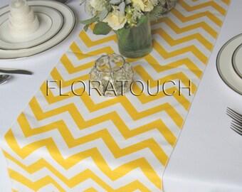 Yellow Chevron Table Runner Yellow and White Zigzag Wedding Table Runner