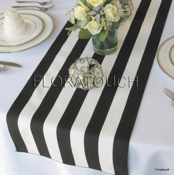 White And Black Stripe Table Runner Wedding Table By