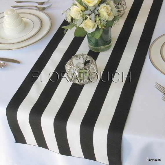 White and Black Stripe Table Runner Wedding Table Runner with black stripes on the borders