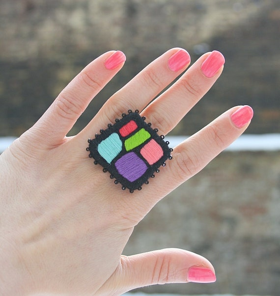 Big Ring Hundertwasser Mosaic. Hand embroidered ring. Colorful jewelry. Multicolor ring.