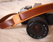 Handmade adjustable leather Camera Strap with neck pad