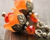 Petite orange blossom earrings