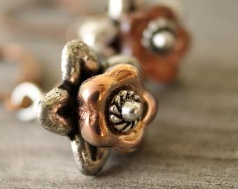 True Grit - mixed metal flower earrings