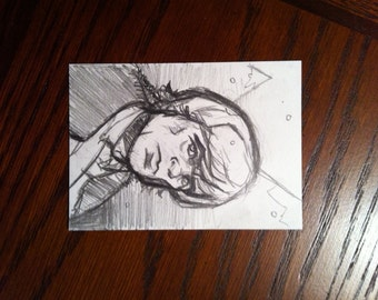 """Game of Thrones - Tyrion Lannister 2.5"""" x 3.5"""" sketch card - original graphite"""