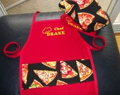 Pizza Chef Hat and Apron Set for Toddlers and Pre-Schoolers  -  Red with Pizza Fabric - Personalized and embroidered
