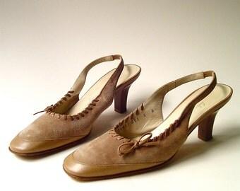 vintage Salvatore Ferragamo Boutique Light Mocha Brown Suede and Leather Sling Back Pumps