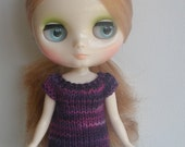 Purple Berries Handknitted Tiny Tee for Middie Blythe