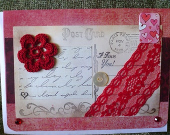 I Love You Red Lacy Postcard Card