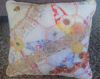 Coral Crazy Quilt Pillow