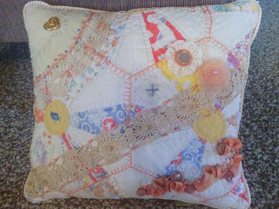 Coral Crazy Quilt Pillow