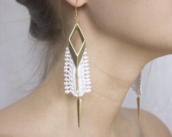Lace earrings - RAYS - Black or white lace with brass pieces