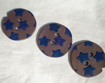 Mauve Stars Trio of Buttons