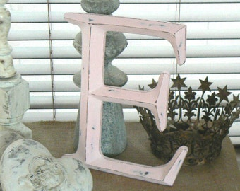 Cottage Chic Pink  Distressed Wall Letter    Chalk Paint
