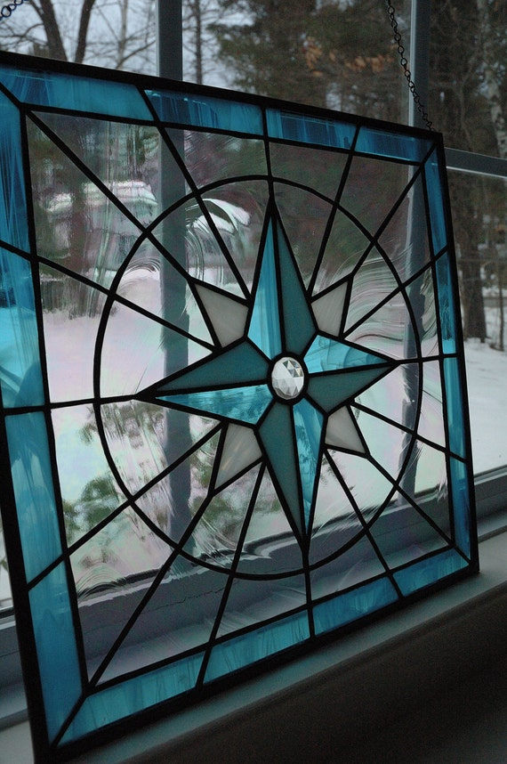 Glass Compass Rose Patterns : Items similar to stained glass compass rose panel on etsy