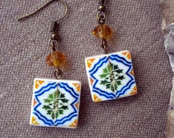 Portugal Lisbon Pasteis de Belem Facade Antique Tile Replica 1837  Earrings - waterproof and reversible 238