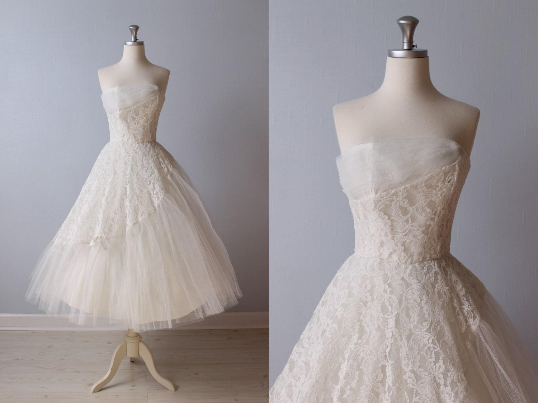 Reserved 1950s wedding dress 50s tea length wedding dress for 1950s tea length wedding dress