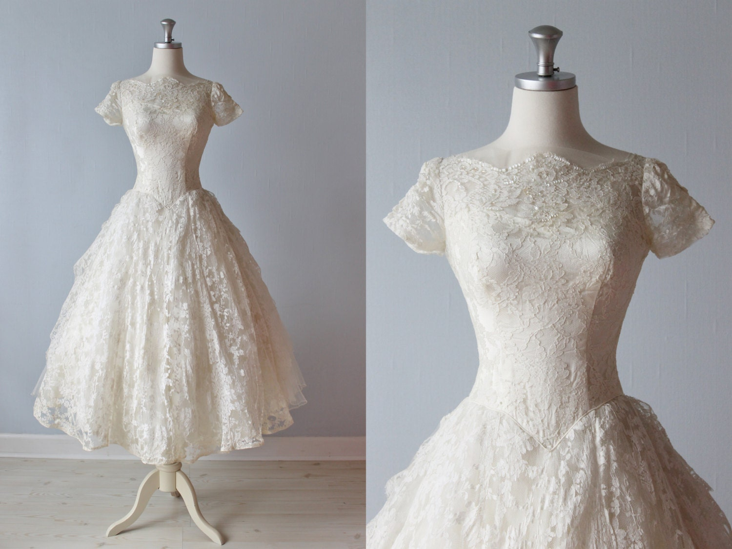 RESERVED 1950s Wedding Dress / 50s Bridal Gown / Tea Length