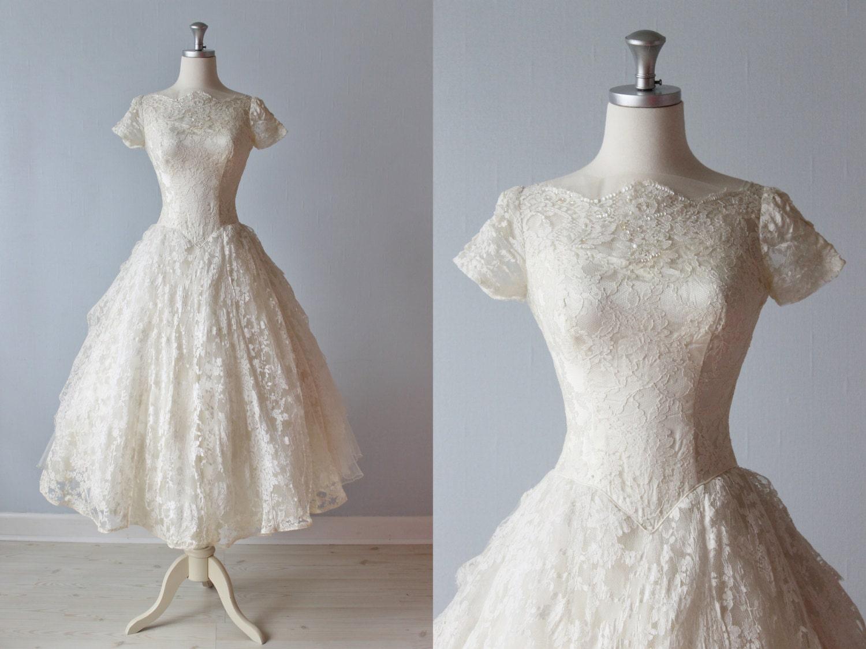 Vintage Wedding Dresses 50s 60s: RESERVED 1950s Wedding Dress / 50s Bridal Gown / Tea Length