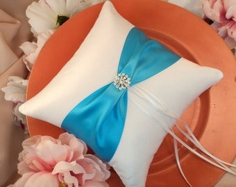 Bridal Satin and Sash Ring Bearer Pillow with Rhinestone Button Accent....You Choose The Colors... Shown in white/turquoise blue
