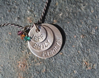Oxidized STERLING Silver Hand Stamped Overlapping THREE DISC Mother Necklace Children's Names