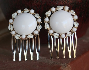 H148-149 Upcycled White Milk Glass Gold Enamel Leaf Vintage Hair Combs