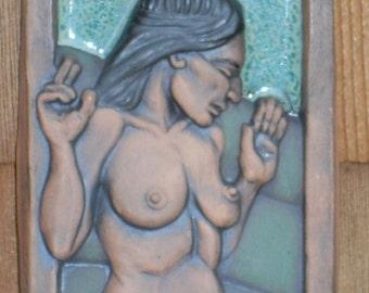 Dancing Woman Art Tile Bas-Relief - Debra Bacianga