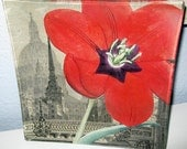 "Sold-Hold for Dixie-Decoupaged Glass Tray ""Red Flower in the City"" Collage"