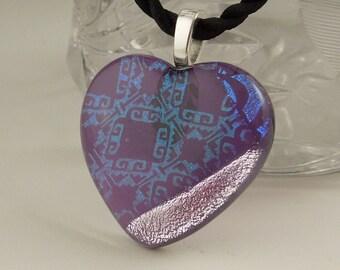 Dichroic Fused Glass Heart Pendant X2263