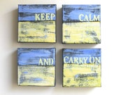 "SALE Abstract Paintings, ""Keep Calm and Carry On"" Original Acrylics"