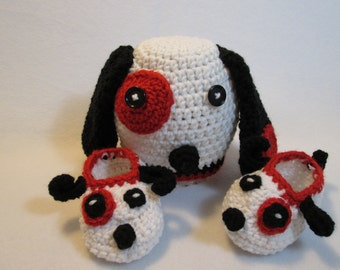 Baby Puppy Dog Hat Booties red white black