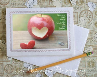 Teacher Red Apple Heart Photo Notecard, Stationery