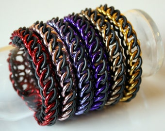 Shiny Stretchy Half Persian Chainmail Bracelet