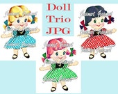 Vintage Digital Download Girl Gingham Vintage Image Blonde Black Red 3 Versions Collage Large JPG Clipart