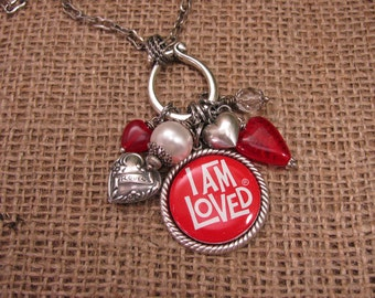 "Upcycled Jewelry - ""I am Loved"" Upcycled Pinback Button Long Length Necklace in Red and White - Beads, Hearts and Pearls"