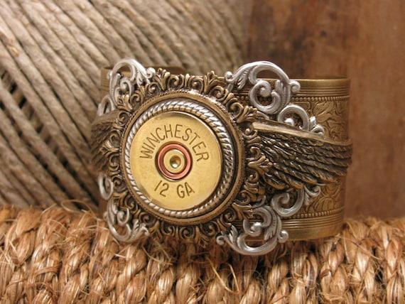 Shotgun Casing Jewelry - Bullet Jewelry - 12 Gauge Shotgun Casing Mixed Metal Winged Cuff Bracelet - Hip, Rustic, even a little Steampunk!