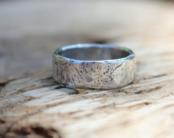 wide mens wedding ring band . rustic silver river rock ring . custom engraved personalized secret message