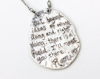 silver rumi quote necklace . recycled fine silver inspirational quote jewelry . sterling silver chain sapphires ready to ship peacesofindigo