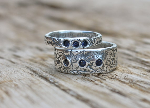 wedding band ring set with three fair trade sapphires . engraved eternity band rings . orions belt recycled silver wedding rings