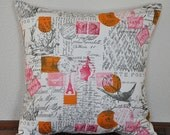 Decorative Pillow Cover French Stamps and Script in Pink and Orange on Natural Background. 18x18Decorative Pillow Cover