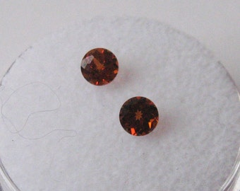 Matched Pair natural untreated Spessartite Garnets, rich deep orange color, 4.2mm round faceted gemstones