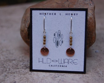 Mini Copper  Disk with African Brass Beads Earrings