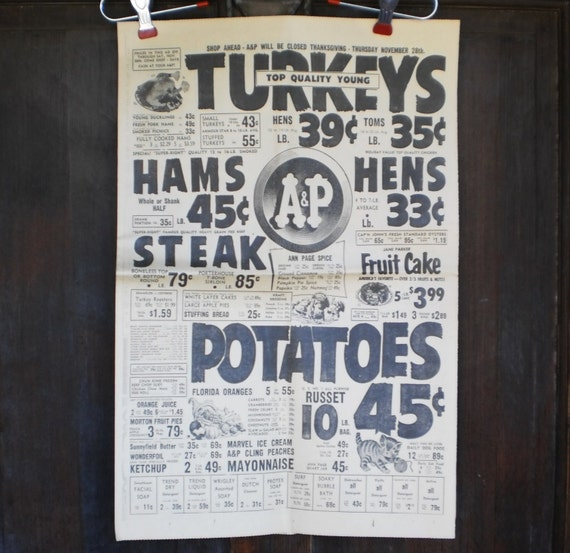 Kitchen Poster Food As Alphabet With Food Name: 1963 Kitchen Poster Newspaper Grocery Store Food Advertisement