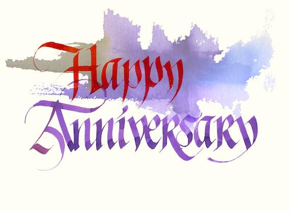 Items similar to happy anniversary original calligraphy
