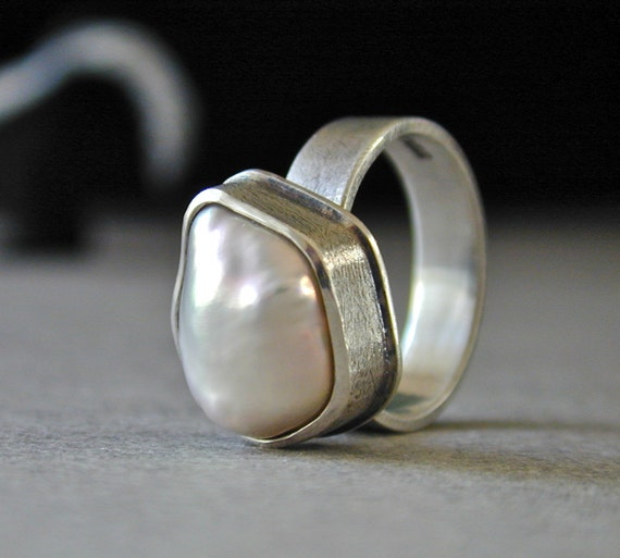 Pearl Ring,  Freeform Pearl, Oxidized Silver, Sterling Silver Ring - RESERVED