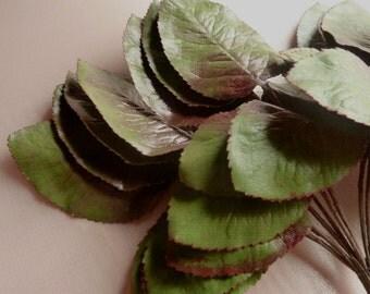 Green Leaves 36 Rose Leaves Larger Vintage German on Triple Leaf Stems  for Bridal, Hat or Costume Design, Floral Supply ML 137